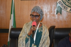 The new ACTU Chairman, Mrs. Munirat Lawal, giving her acceptance speech