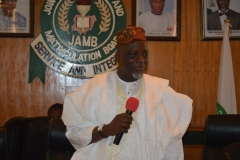 JAMB Registrar, Prof. Ishaq Oloyede, speaking during the inauguration