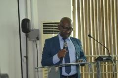 The new ACTU Chairman, NIMET, Mujitaba Ajikolo, giving his acceptance speech at the inauguration
