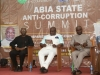 (L-R) ICPC Chairman, Mr. Ekpo Nta, Governor Okezie Ikpeazu of Abia State and Deputy Governor, Rt. Hon. Ude Oko Chukwu at the summit
