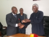 ICPC Chairman Barr Ekpo Nta presenting a plaque to the Ag Chairman of Fiscal Responsibility Commission Barr Victor Murako