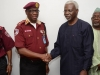 Corps Marshal of FRSC, Boboye Oyeyemi, in a warm handshake with ICPC Chairman, Mr. Ekpo Nta.