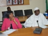 DG NOA, Dr. Garba Abari and a management staff, Ngozi Ekeoba, mni, during the courtesy visit to the Commission