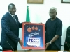 Executive Vice Chairman of NCC, Prof. Umar Danbatta, presenting a souvenir to ICPC Chairman, Mr. Ekpo Nta
