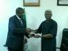 Executive Vice Chairman of NCC, Prof. Umar Danbatta, presenting a plaque to ICPC Chairman, Mr. Ekpo Nta