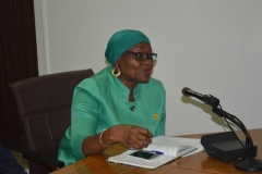 ICPC Spokesperson and Director, Public Enlightenment, Mrs. Rasheedat Okoduwa, speaking during the courtesy visit