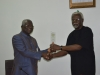 ICPC Chairman, Mr. Ekpo Nta presenting a plaque to NACC Chairman, Rev. Massi Gams during the courtesy visit