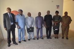 ICPC Chairman, Mr. Ekpo Nta (3rd right) and NACC Chairman, Rev. Massi Gams (centre), in a group photograph with management staff of ICPC and NACC