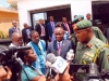 THE GOC, MAJ. GEN. L.C. ILO, SPEAKING WITH JOURNALISTS DURING THE VISIT