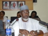 General Secretary, Nigeria Football Federation (NFF), Dr. Mohammed Sanusi speaking during the courtesy visit