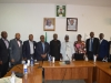 ICPC Chairman, Mr. Ekpo Nta (5th L) and Dr. Mohammed Sanusi (5th R) in a group photograph with ICPC management staff and NFF officials