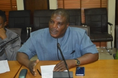 Mr. Lanre Awogbemi, Head of the Computer Forensic and Security Unit of ICPC, speaking during the visit