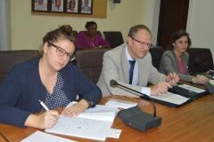 (L-R) Vera Stricker; Martin Zbinden and Jolanda Pfister Herren, the Swiss Embassy delegation during the visit