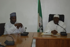 (L-R) Secretary to the Commission, Dr. Musa Usman Abubakar and ICPC Acting Chairman, Hon. Bako Abdullahi, during the visit