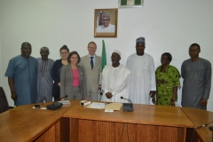 ICPC Acting Chairman, Hon. Bako Abdullahi in a group photograph with members of the Swiss Embassy and ICPC management staff