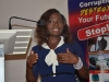 Leader of the delegation, Vera Tyav making her remarks