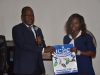 Head, Education Department ICPC, Mr. Geoffrey Anumve presenting the Commission's publications to the leader of the delegation Vera Tyav