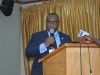 Dr. Elvis Oglafa, Secretary to the Commission delivering his speech at the retreat