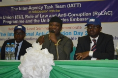 Dr. Kayode Fayemi, Hon. Minister of Mines and Steel Development [M]; Mr. Akingbolahan Adeniran, representative of the Vice President [R], during the 2017 International Anti-Corruption Day celebrations in Abuja