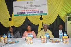 [L-R] Assistant Director, Education Department of ICPC, Azuka Ogugua, National President, National Association of Proprietors of Private Schools (NAPPS), Sally Adukwu Bolujoko, Former ICPC Chairman, Ekpo Nta, Council Member, North-Central Zone of NAPPS, Charles Umekwe, at the event