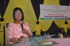 National President of NAPPS and Proprietor of Titsall Global Schools, Dr. Sally Adukwu Bolujoko speaking at the event