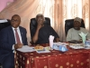 (L-R) Secretary to the Commission, Dr. Elvis Oglafa, ICPC Chairman, Mr. Ekpo Nta, and Board Member, Hon. Bako Abdullahi at the media parley