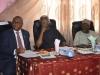 (L-R) Secretary to the Commission, Dr. Elvis Oglafa, ICPC Chairman, Mr. Ekpo Nta, and Board Member, Hon. Bako Abdullahi at the media parley