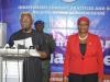 ICPC Chairman, Mr. Ekpo Nta officially introducing the Commission\'s Spokesperson, Mrs. Rasheedat A. Okoduwa, mni, to members of the media