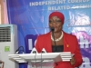ICPC Spokesperson, Mrs. Rasheedat A. Okoduwa mni, giving the vote of thanks at the end of the media parley