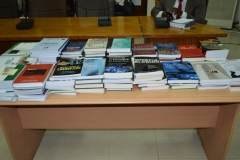A display of the books donated to ICPC's Academy by UNODC