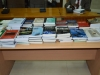 A display of the the books donated to ICPC's Academy by UNODC .
