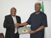 Mr. Jesse Wachanga making a presentation to ICPC Chairman, Mr. Ekpo Nta