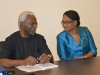 ICPC Chairman, Ekpo Nta, discussing with Ms. Onyeche Tifase