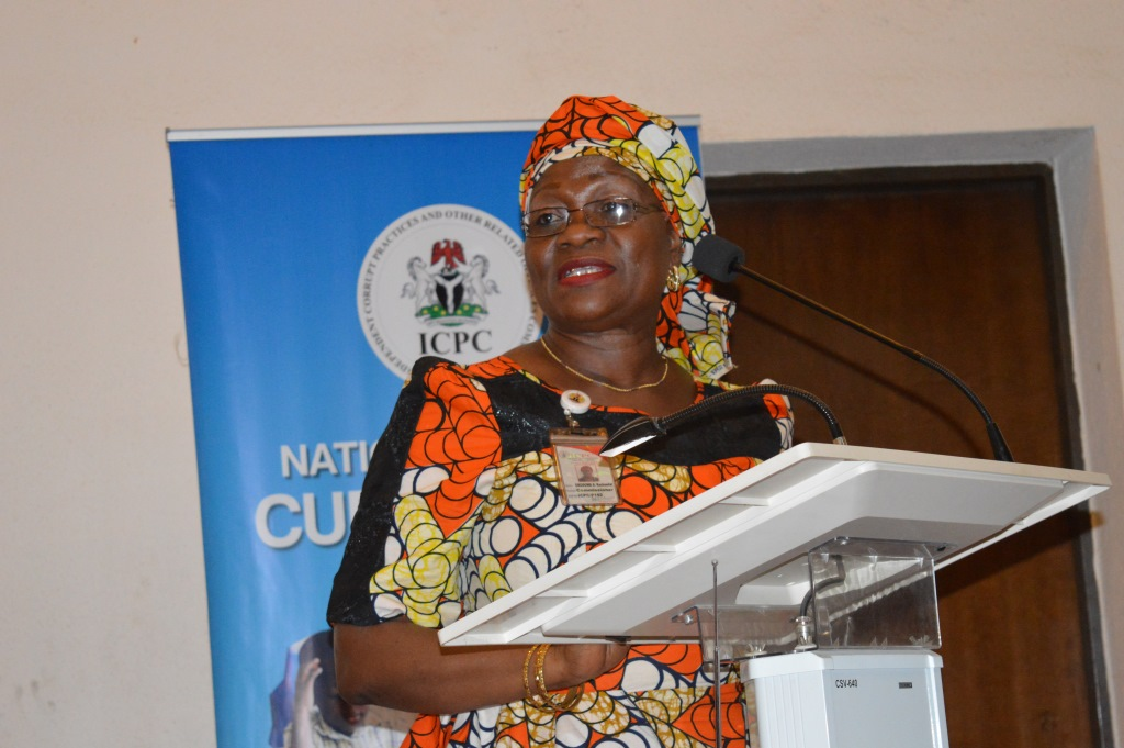 Mrs. Rasheedat Okoduwa, mni, Commissioner, Public Enlightenment & Spokesperson for the Commission making her remarks at the event