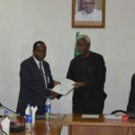 DSC_0101 ICPC Chairman, Mr. Ekpo Nta presenting the report to the CMD National Hospital, Abuja, Dr. Jaffar Mommoh