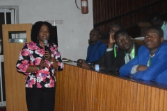 Mrs. Azuka Ogugua of the Education Department of ICPC, making a presentation during the visit