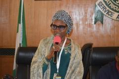 The new ACTU Chairman, Mrs. Munirat Lawal, giving her acceptance speech