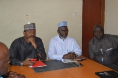Secretary-General, Nigeria Football Federation [NFF], Dr. Muhammad Sanusi [centre], who represented the NFF President, Mr. Amaju Pinnick, speaking during the inauguration
