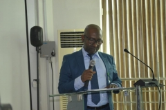 The new ACTU Chairman, NIMET, Mujitaba Ajikolo, giving his acceptance speech at the inauguration