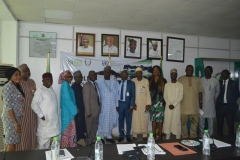 Director-General, NIMET, Prof. Abubakar Sani Mashi and Mr. Justin Kuatsea of ICPC in a group photograph with the new exco members and ICPC staff