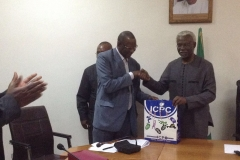 President of Quantity Surveyors Registration Board of Nigeria (QSRBN), Hussaini A. Dikko, Receiving some publications from ICPC Chairman, Mr. Ekpo Nta