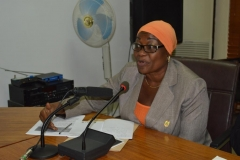Director, Public Enlightenment Department and Spokesperson for the Commission, Mrs. Rasheedat Okoduwa, who represented the ICPC Acting Chairman, Hon. Bako Abdullahi, speaking during the courtesy visit