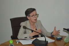 Delia Ferreira Rubio, Chair of the International Board of Transparency International, speaking during the courtesy visit