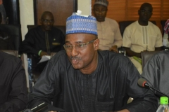 Commissioner, Planning, Research and Review Department, Bala Mohammed, speaking during the courtesy visit
