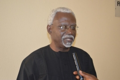 ICPC Chairman, Mr. Ekpo Nta, speaking to reporters after the courtesy visit