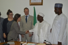 ICPC Acting Chairman, Hon. Bako Abdullahi, in a handshake with the leader of the Swiss Embassy delegation, Jolanda Pfister Herren
