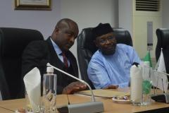 Acting Chairman ICPC, Dr. Musa Usman Abubakar discussing with INEC Chairman Prof. Mahmoud Yakubu