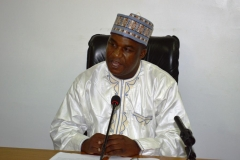 ICPC Acting Chairman, Dr. Musa Usman Abubakar, addressing the team members during the inauguration