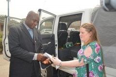 [L] Secretary to ICPC, Dr. Musa Usman Abubakar, receiving the vehicle on behalf of the Commission from Nicki Marrs [R], Africa Regional Manager, British Deputy High Commission in Lagos
