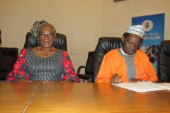 Dame Julie Onum-Nwariaku (L) and Alhaji Isa Ozi Salami (R), out-going Board Members of ICPC, at the valedictory session